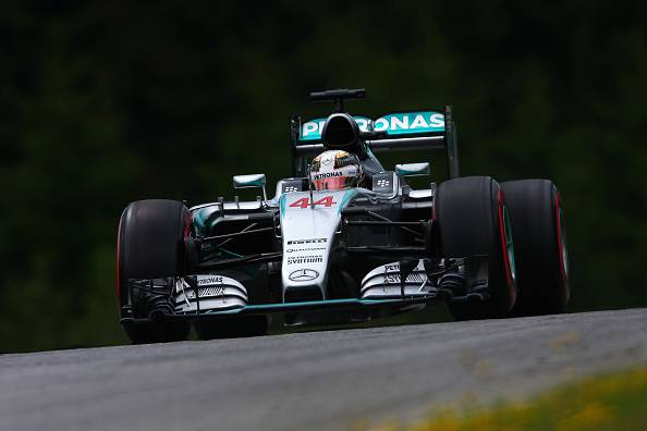 SPIELBERG, AUSTRIA - JUNE 20:  Lewis Hamilton of Great Britain and Mercedes GP drives during qualifying for the Formula One Grand Prix of Austria at Red Bull Ring on June 20, 2015 in Spielberg, Austria.  (Photo by Clive Mason/Getty Images)