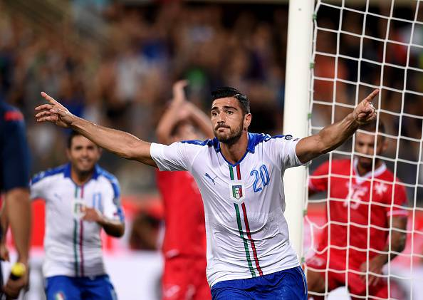 FLORENCE, ITALY - SEPTEMBER 03:  Graziano Pelle of Italy celebrates after scoring the opening goal during the EURO 2016 Group H Qualifier match between Italy and Malta during the UEFA EURO 2016 qualifier between Italy and Malta on September 3, 2015 in Florence, Italy.  (Photo by Claudio Villa/Getty Images)