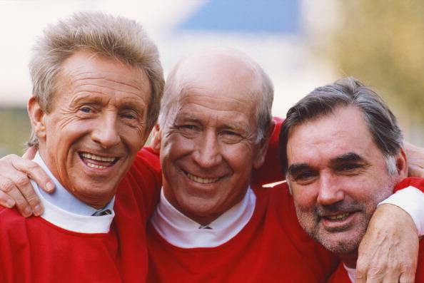 United football legends Denis Law, Bobby Charlton and George Best (Photo by Getty Images/Getty Images)(getty imaes)