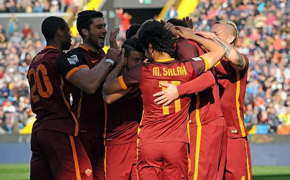 La Roma festeggia un gol Serie A