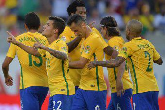 Il Brasile festeggia un gol in Copa America