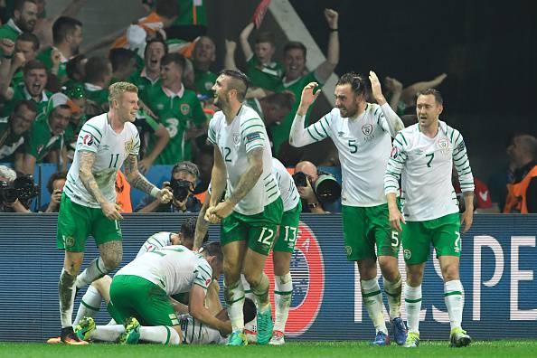 I festeggiamenti dell'Irlanda dopo la rete della qualificazione