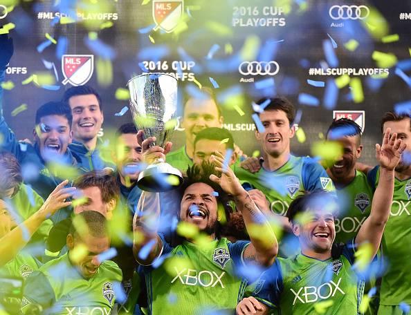 I Seattle Sounders festeggiano, sono i campioni della Western Conference in MLS