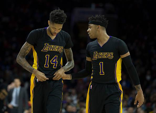 Brandon Ingram e D'Angelo Russell, giocatori NBA. Militano nei Los Angeles Lakers