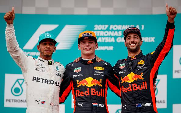 Hamilton, Verstappen e Ricciardo gp malesia