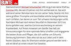 Lettera moglie Schumacher al magazine tedesco Bunte