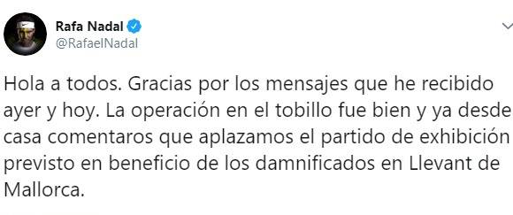 """Rafa Nadal su Twitter""""intervento riuscito"""""""
