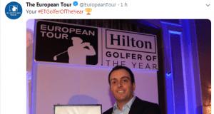 Golf - Francesco Molinari con il premio del miglior giocatore dell'anno