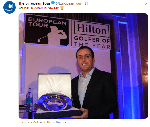 Golf - Francesco Molinari: Collare d'oro e Golfista Dell'anno