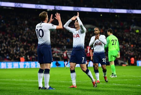 Kane Son esultano in Tottenham-Bournemout