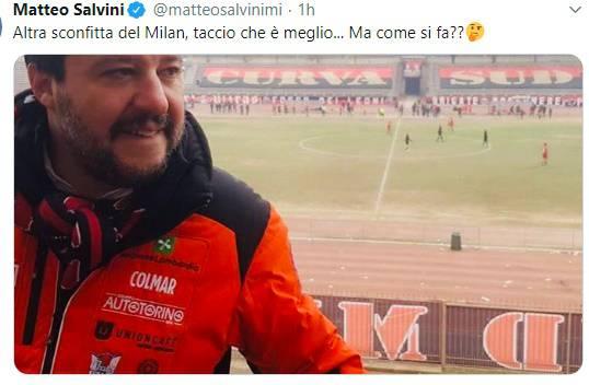 Matteo Salvini post Twitter dopo sconfitta Milan
