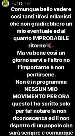 Messaggio di Mario Balotelli su Instagram