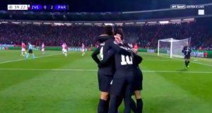Neymar secondo gol del PSG a Belgrado bellissimo