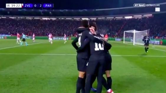 Neymar secondo gol del PSG a Belgrado è bellissimo