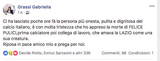 messaggio su fcbk di una ex dirigente della Lazio