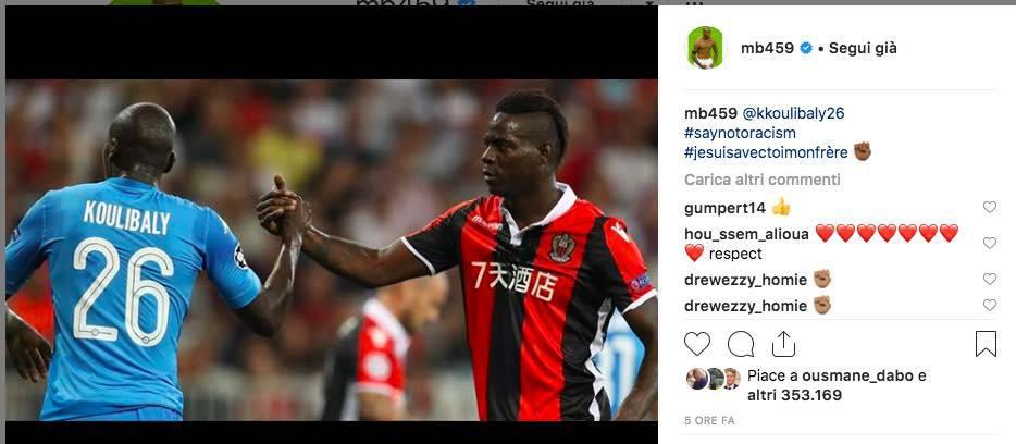 Tweet Mario Balotelli in solidarietà con Koulibaly