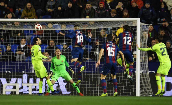 Levante-Barcellona Coppa del Re Gol di Cabaco