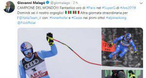 Giovanni Malagò si complimenta con Dominik Paris per l'Oro mondiale
