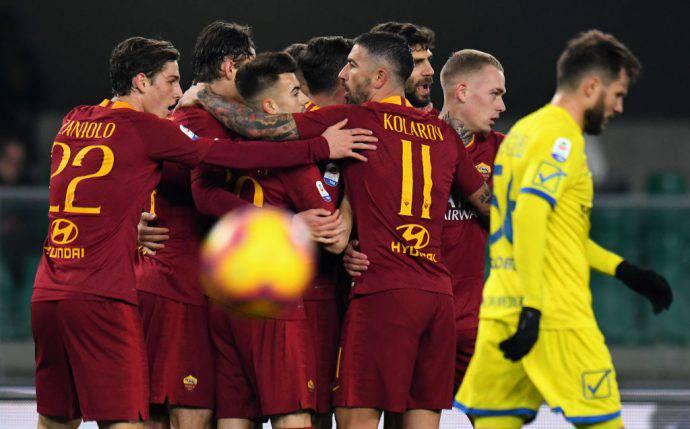 La Roma esulta a Verona