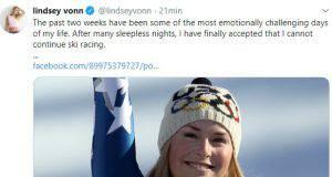 Lindsaey Vonn annucia il suo ritiro