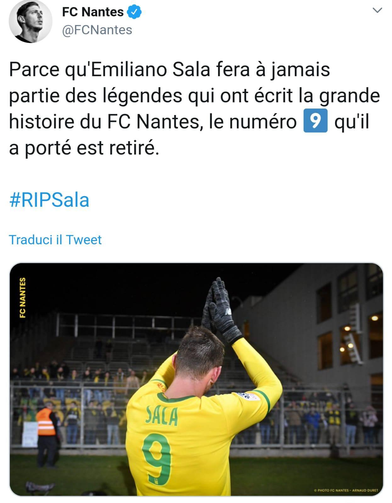 Emiliano Sala Nantes Ritiro Maglia