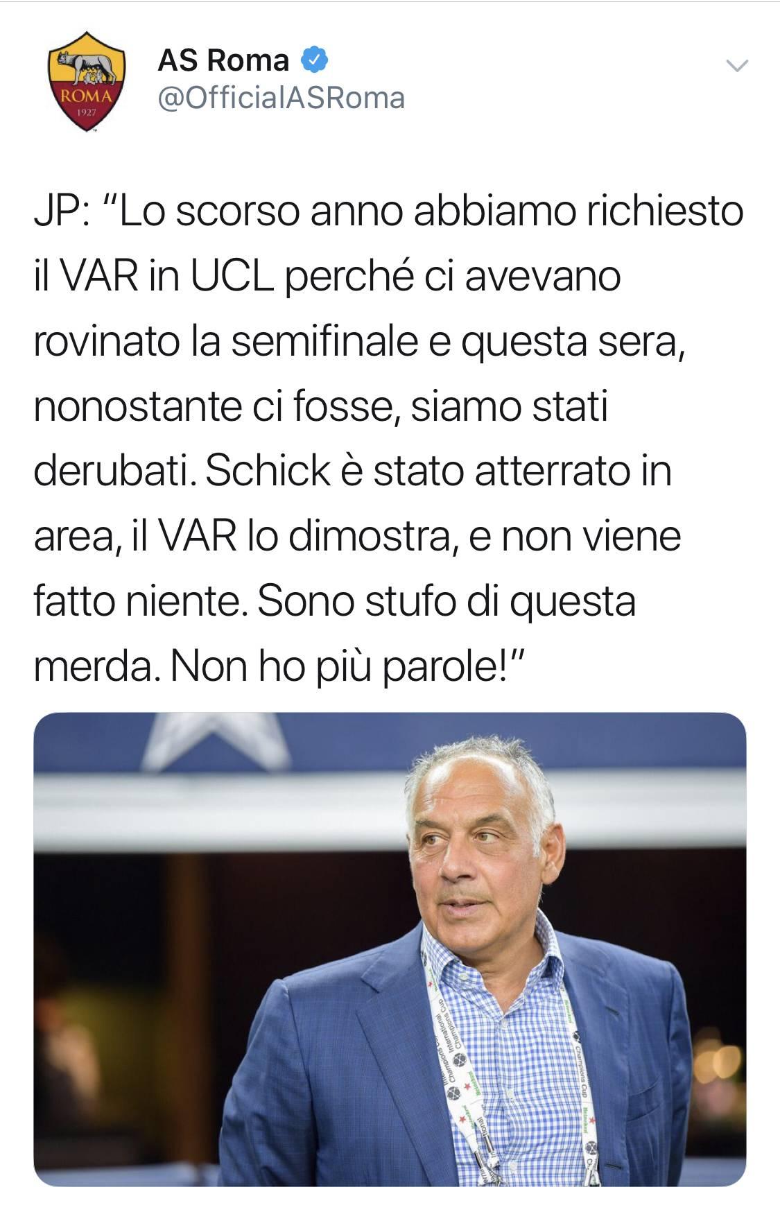 Sfogo pesantissimo de presidente Pallotta