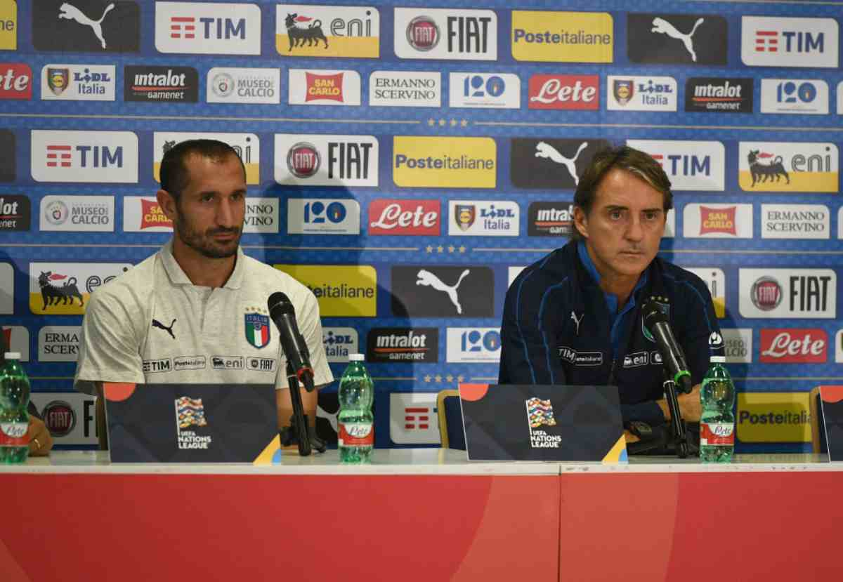 Mancini e Chiellini Italia vigilia Finlandia