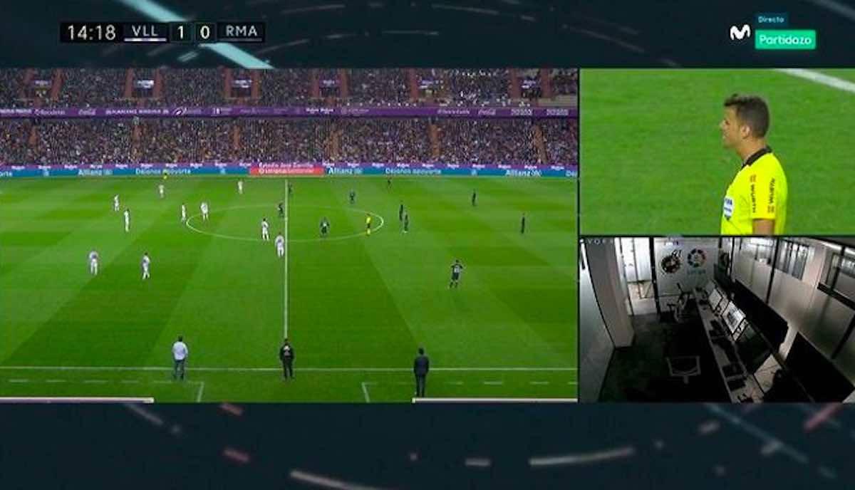 Valladolid-Real Madrid inquadrata la sala controllo Var ma non c'è nessuno!
