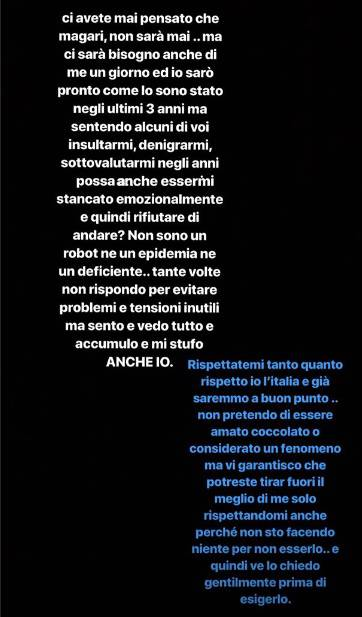 messaggio Balotelli su Instagram