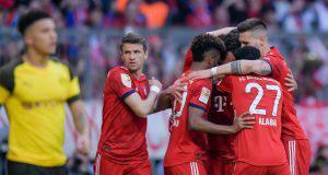 Il Bayern festeggia il 5-0 sul Borussia Dortmund!