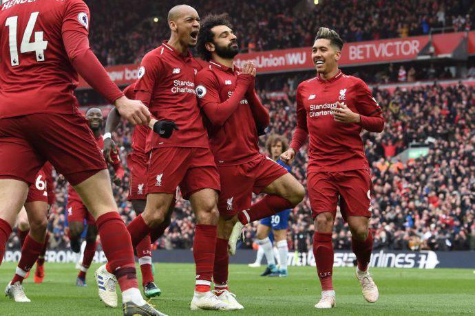 Salah esulta dopo il gran gol al Chelsea