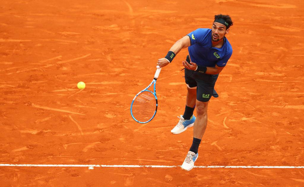 MONTE-CARLO, MONACO - APRIL 21: Fabio Fognini of Italy serves against Dusan Lajovic of Serbia in the men's singles final during day eight of the Rolex Monte-Carlo Masters at Monte-Carlo Country Club on April 21, 2019 in Monte-Carlo, Monaco. (Photo by Clive Brunskill/Getty Images)