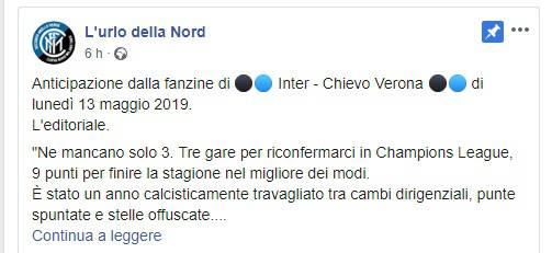 Comunicato della Curva Nord Inter