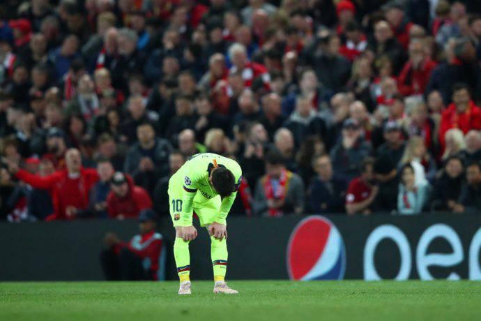 Leo Messi è rimasto a secco nella gara di ritorno a Liverpool