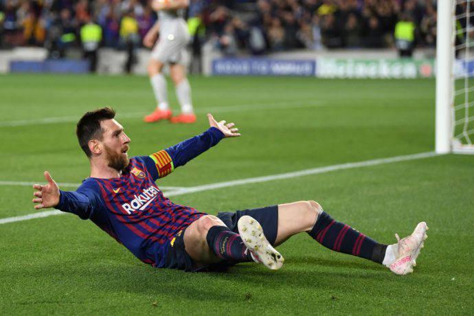 Messi esulta per la doppietta al Liverpool