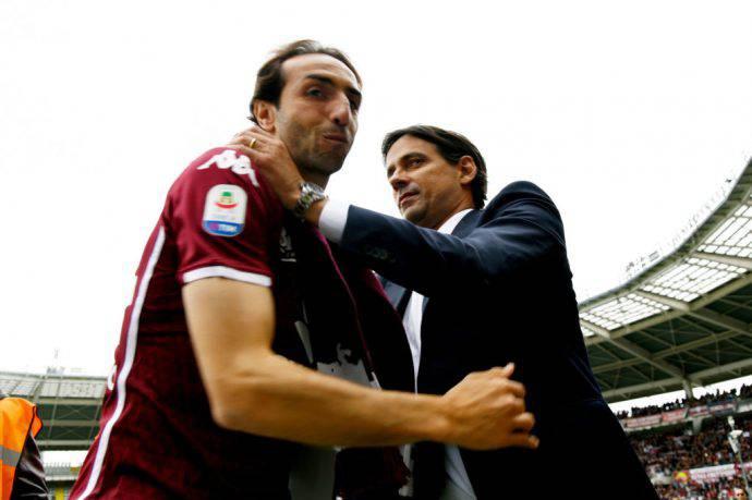 Moretti salutato da Inzaghi a Torino