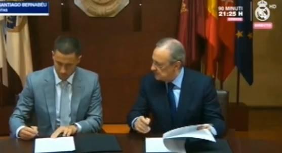 Hazard firma del contratto con il Real Madrid