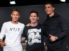 Neymar insieme a Messi e Ronaldo