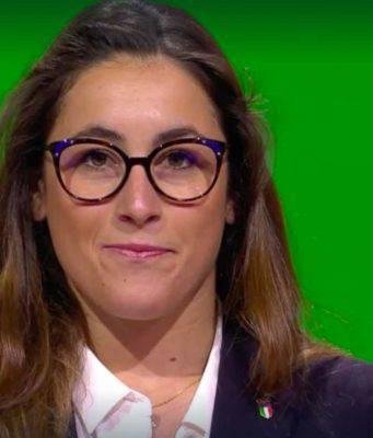 Sofia Goggia a Losanna durante la cerimonia di assegnazione delle Olimpiadi 2026