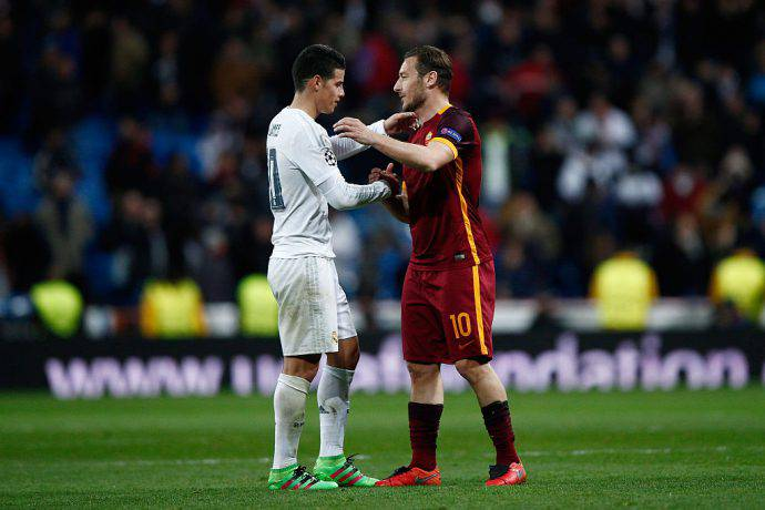 Totti e James in Real Madrid-AS Roma