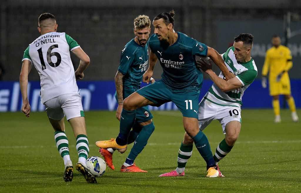 Ibrahimovoc segna l'1-0 contro loShamrock Rovers per i preliminari di Europa League