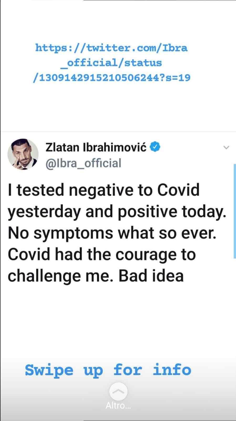 La reazione social di Ibrahimovic al test covid positivo