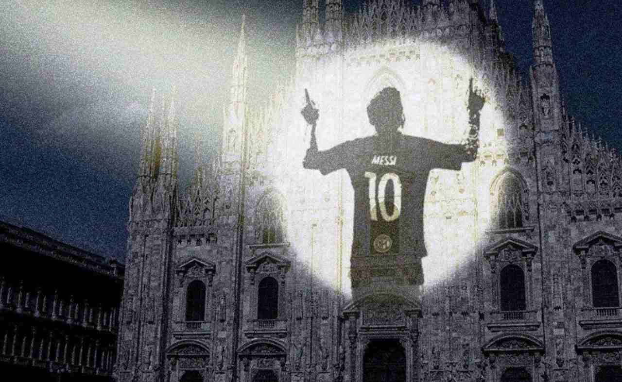 Messi proiettato sul Duomo di Milano