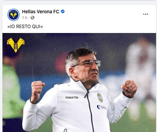 Juric rinnova con il Verona. il post facebook che lo dimostra