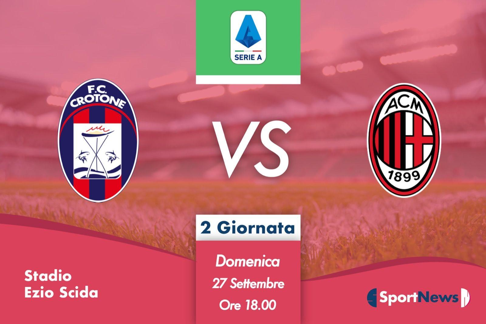 Serie A 2ª Giornata Crotone-Milan. Probabili formazioni, dove vederla in tv e streaming