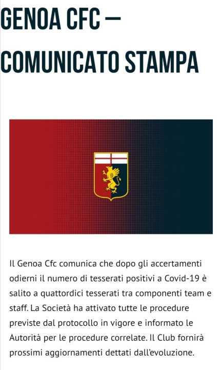Coronavirus | Genoa, 14 positivi, a rischio la partita con il Torino